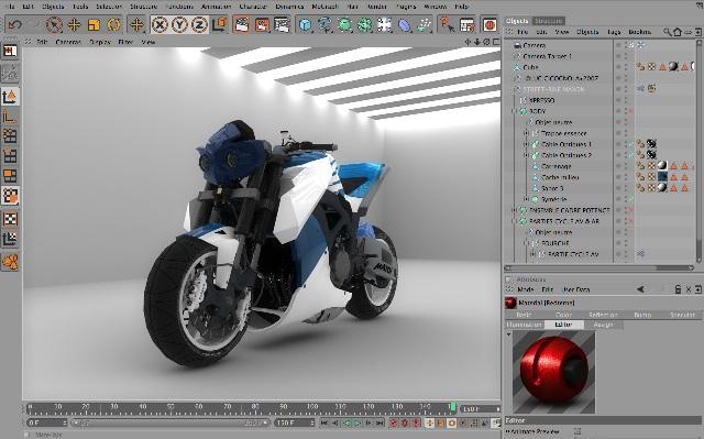 Изменение мотоцикла в Cinema 4D