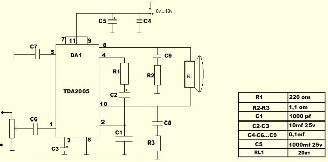 Схема включения усилителя мощности