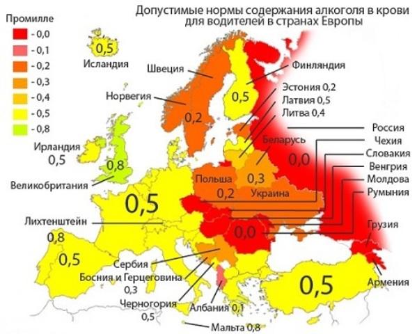 Европейские нормы содержания спирта в организме человека